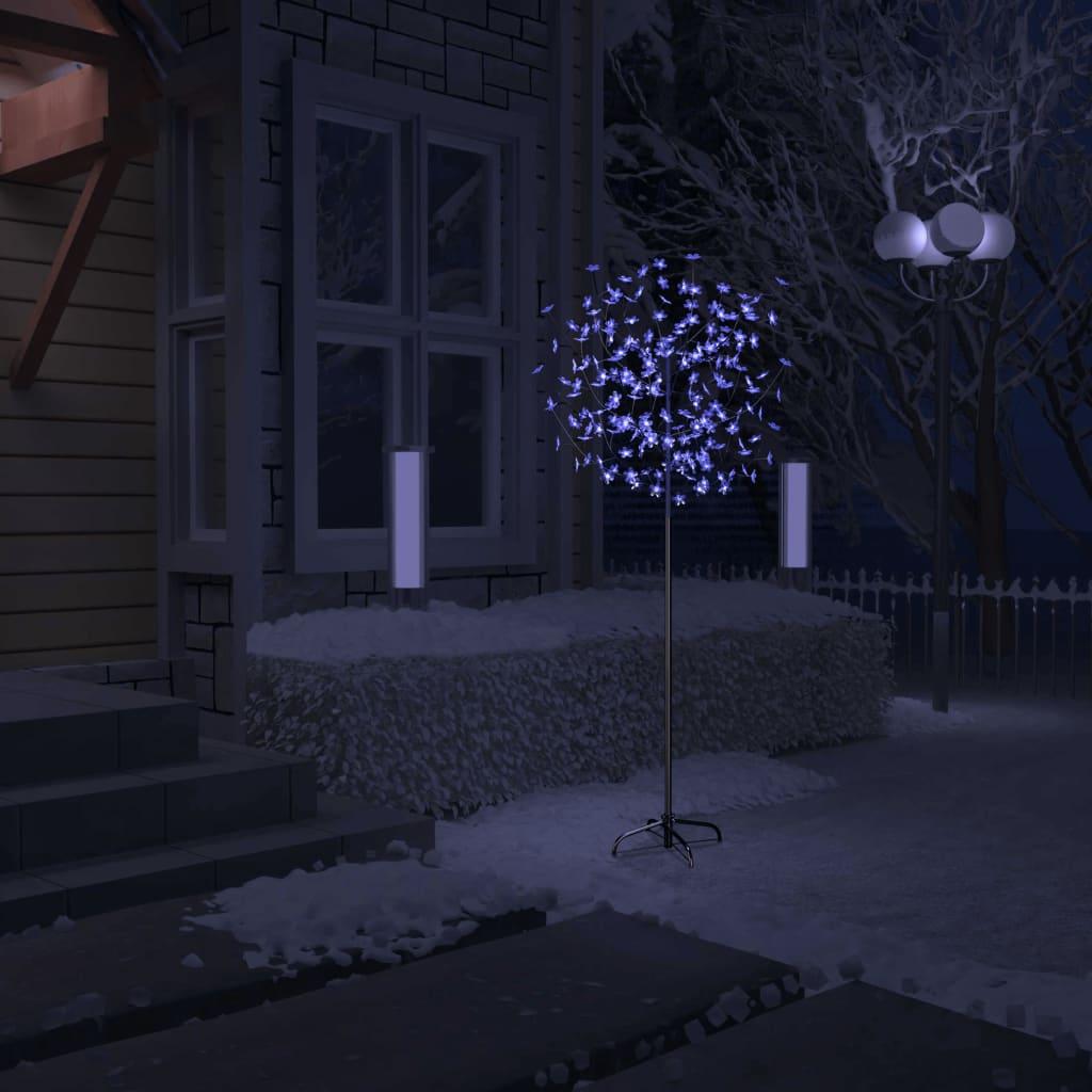 vidaXL Albero di Natale 200 LED Blu Bianco Ciliegio in Fiore 180 cm