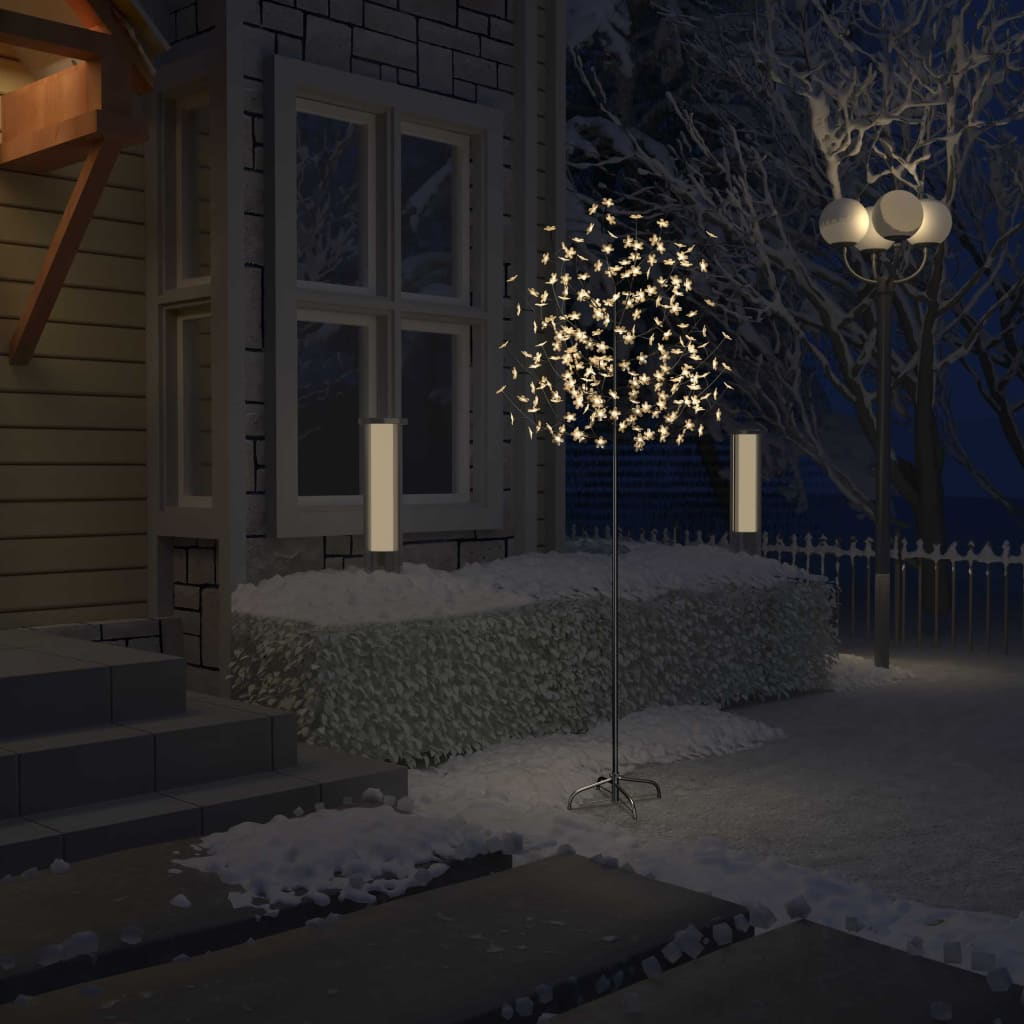 vidaXL Pom Crăciun, 220 LED-uri alb cald, flori de cireș, 220 cm poza vidaxl.ro