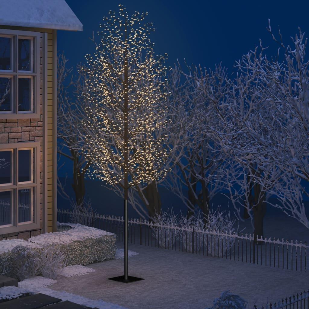vidaXL Pom Crăciun, 2000 LED-uri, alb cald, flori de cireș, 500 cm imagine vidaxl.ro