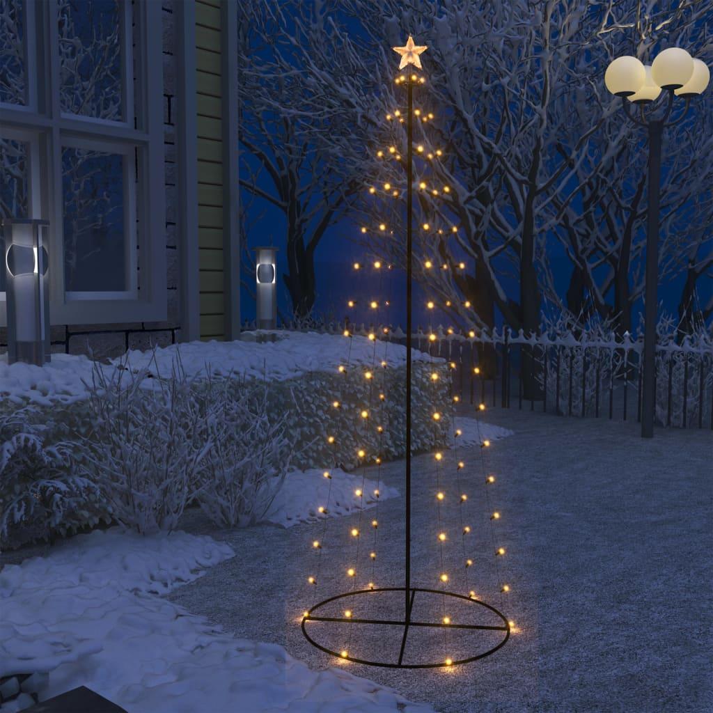 vidaXL Decorațiune brad Crăciun conic 100 LED-uri alb cald 70x180 cm poza 2021 vidaXL