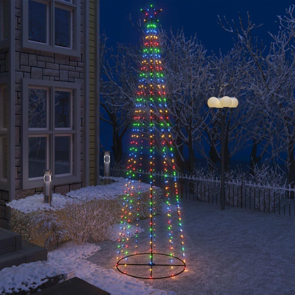 vidaXL Decorațiune brad Crăciun conic 400 LED-uri colorate 100x360 cm vidaxl.ro