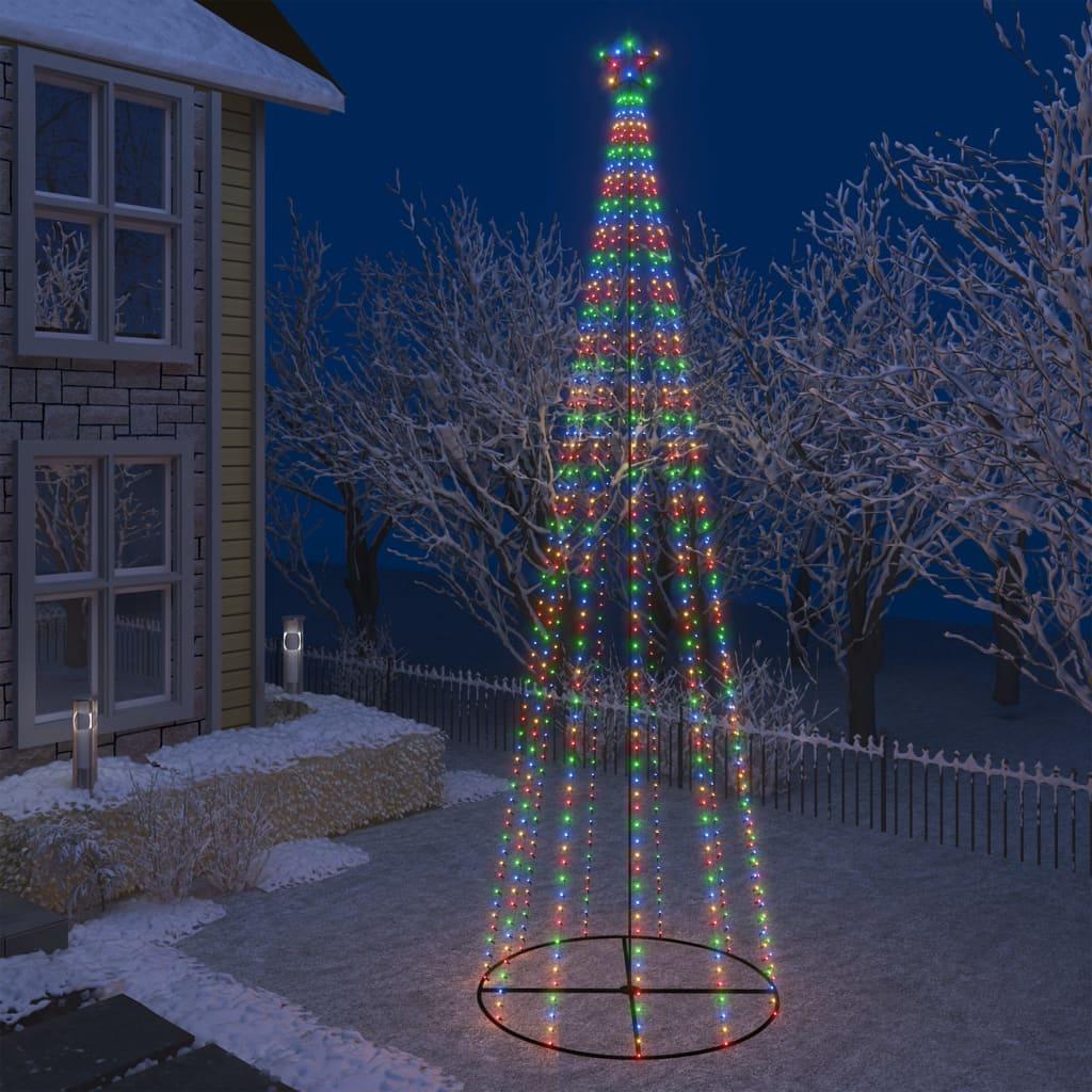 vidaXL Decorațiune brad Crăciun conic 752 LED-uri colorate 160x500 cm poza vidaxl.ro