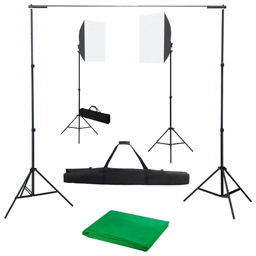 vidaXL Kit studio foto cu lumini softbox și fundal poza 2021 vidaXL