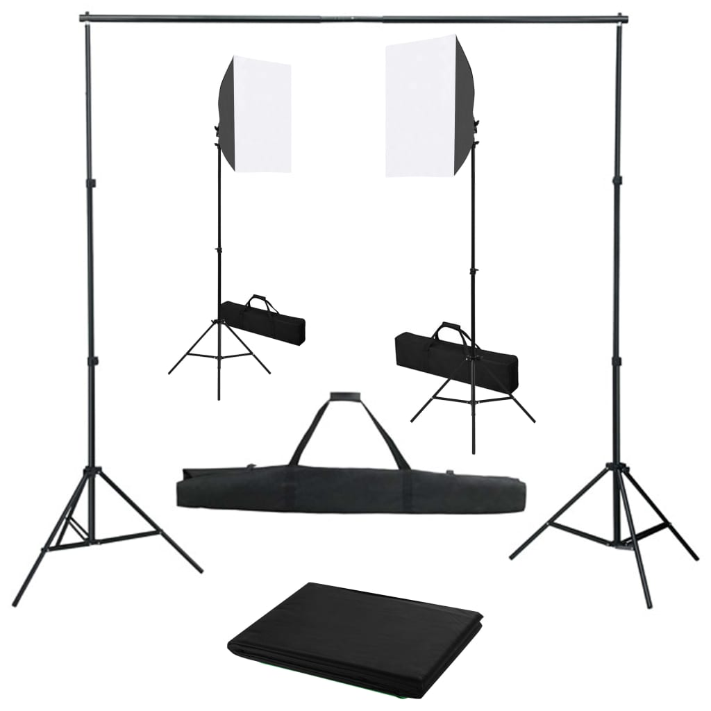 Fotostudio set se softboxy a fotopozadím