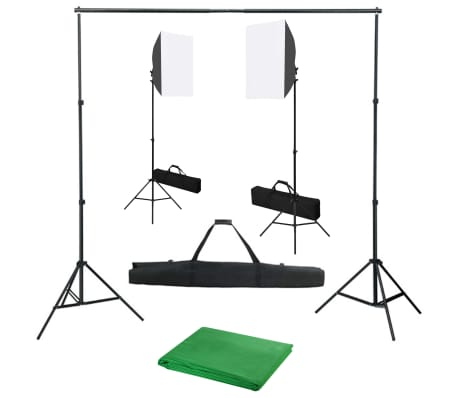 vidaXL fotostudiesæt med softbox-lamper og baggrund