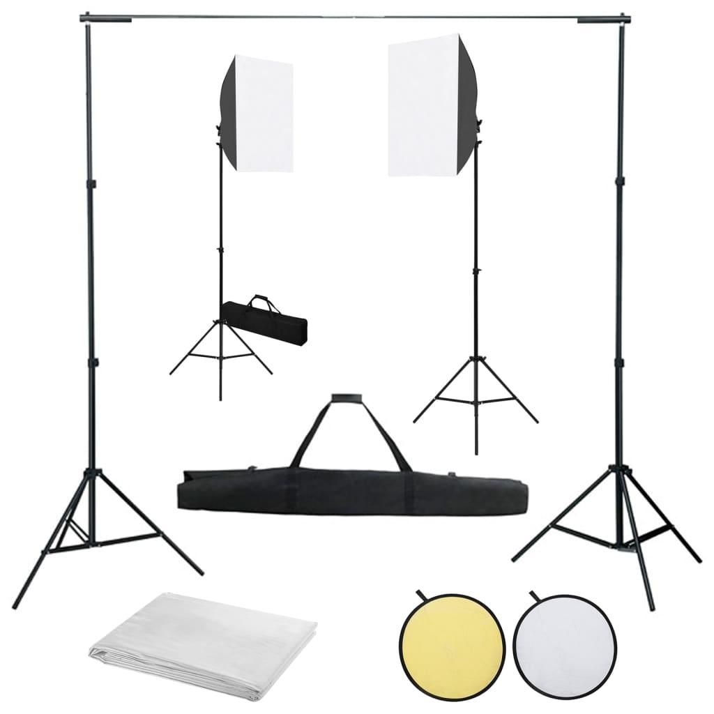 vidaXL Foto studio set se softboxy, fotopozadím a reflektorem