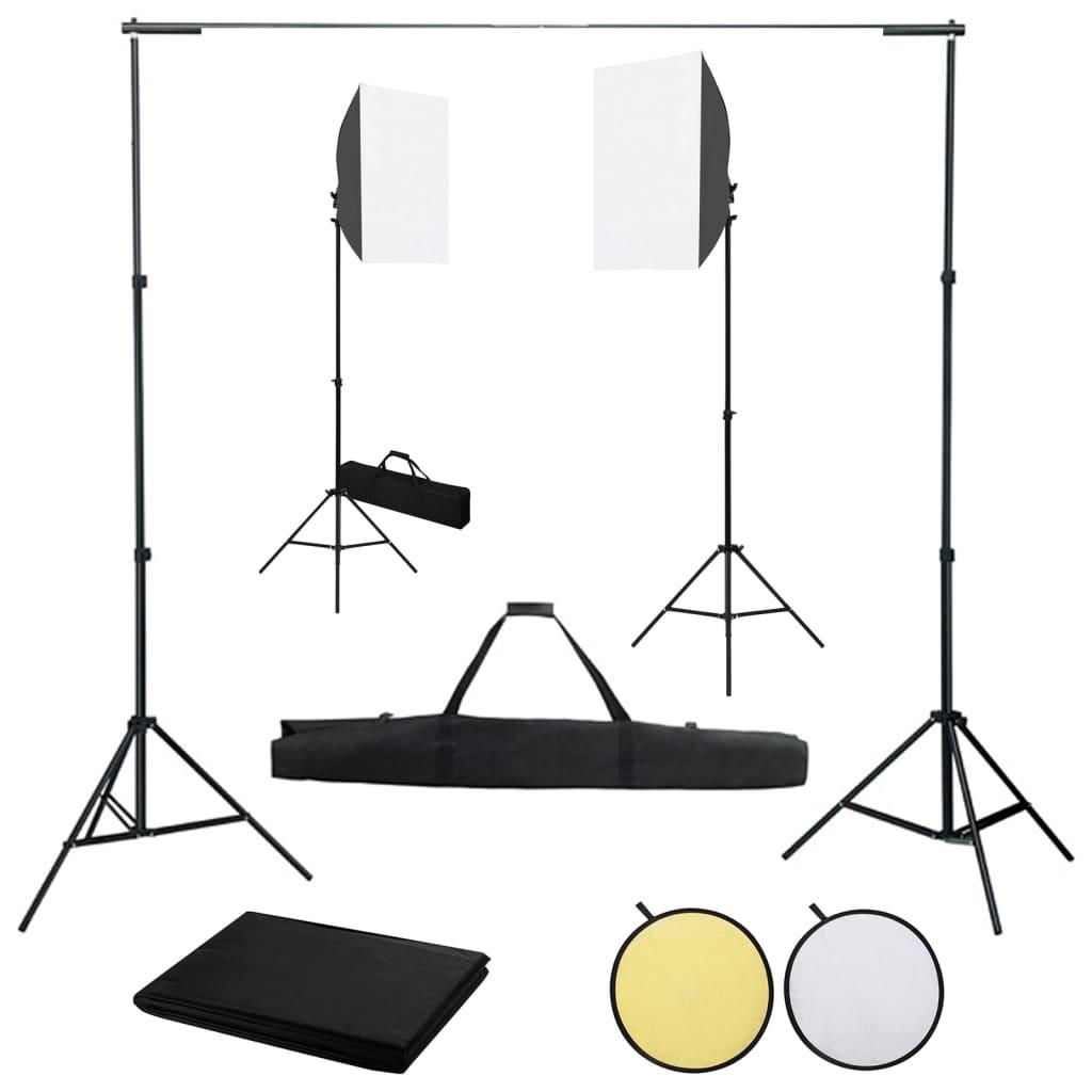 vidaXL Kit studio foto cu lumini softbox, fundal și reflector vidaxl.ro