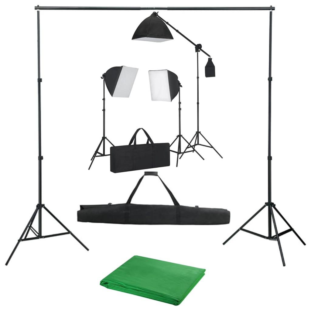 Studio set se softboxy a fotopozadím