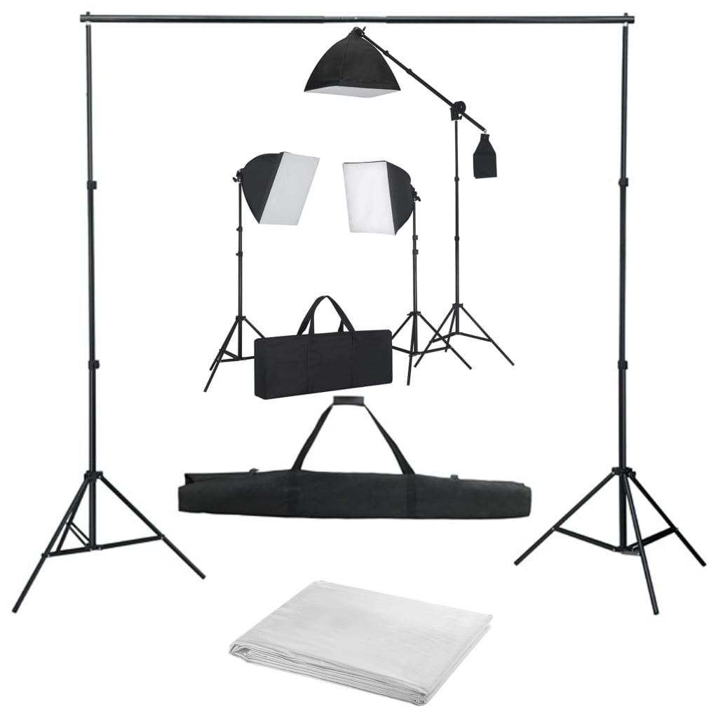 vidaXL Kit studio foto cu lumini softbox și fundal vidaxl.ro