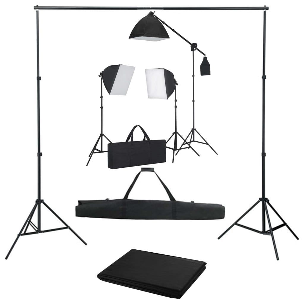 vidaXL Kit studio foto cu lumini softbox și fundal poza vidaxl.ro