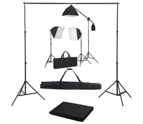 vidaXL Kit de studio photo avec boîtes à lumière et toile de fond
