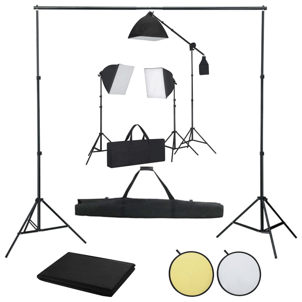 vidaXL Kit studio foto cu lumini softbox, fundal și reflector poza vidaxl.ro