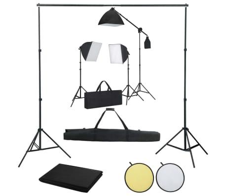 vidaXL Kit de studio photo boîtes à lumière toile de fond réflecteur