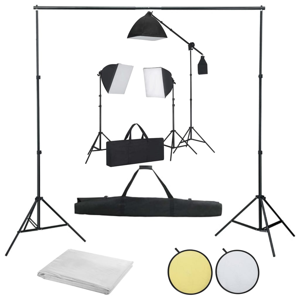 vidaXL Kit studio foto cu lumini softbox, fundal și reflector imagine vidaxl.ro