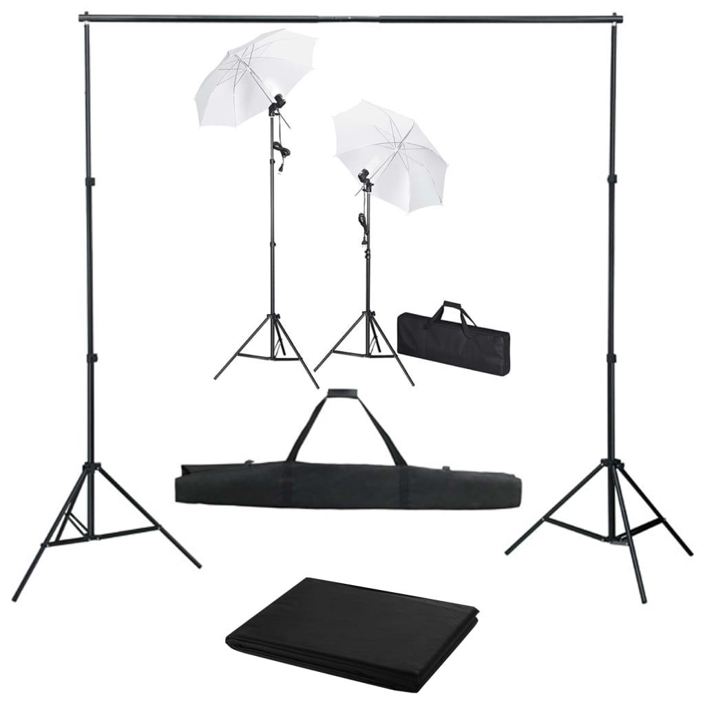 Foto studio set s fotopozadím, osvětlením a deštníky