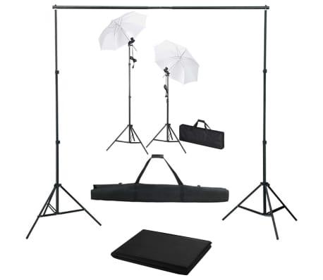 vidaXL Kit estudio fotográfico con telón de fondo, lámparas y paraguas