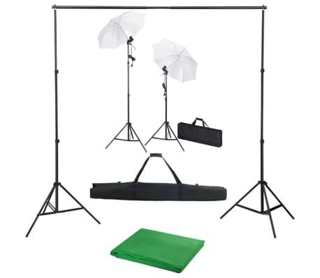 vidaXL Kit de studio photo avec toile de fond lampes et parapluies