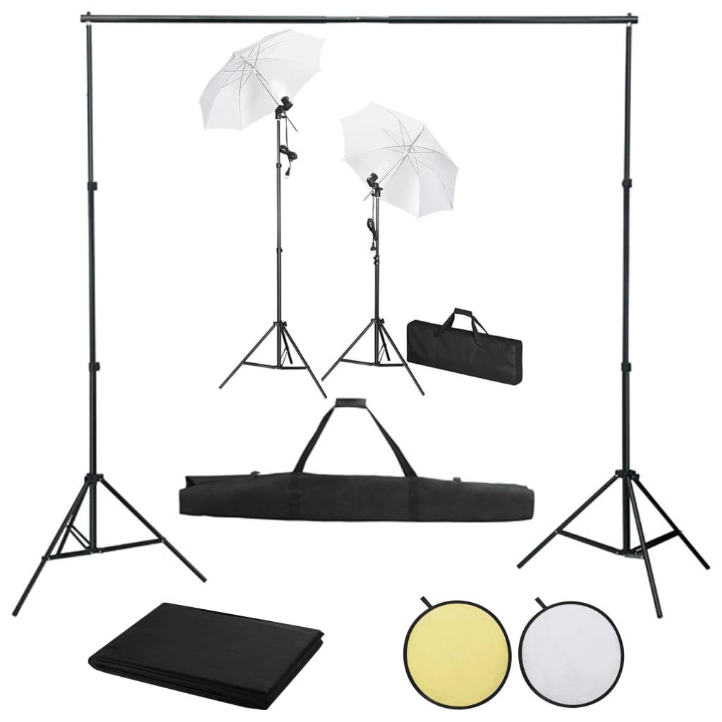 Foto studio set s pozadím, osvětlením a deštníky