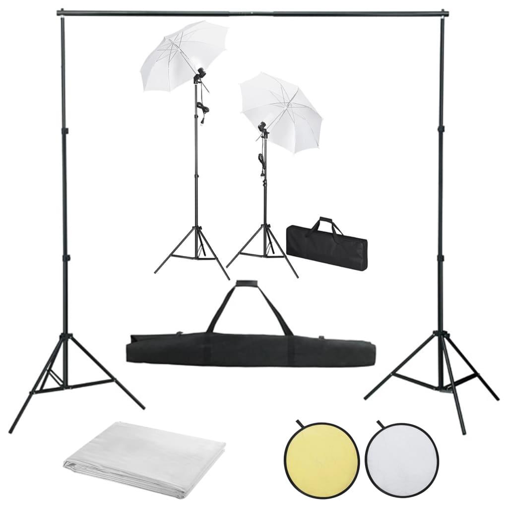 vidaXL Foto studio set s pozadím, osvětlením a deštníky