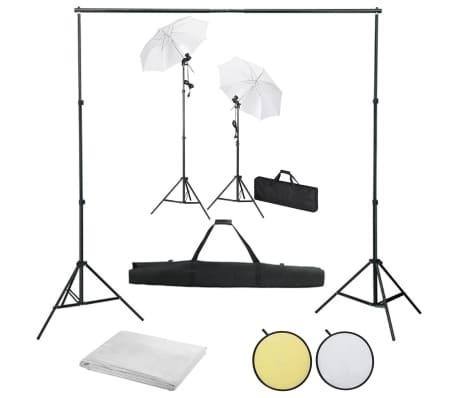 vidaXL Kit de studio photo avec toiles de fond lampes et parapluies