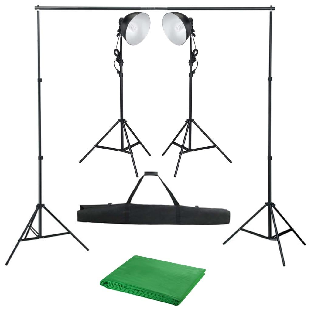 vidaXL Fotostudio set se studiovým osvětlením a pozadím
