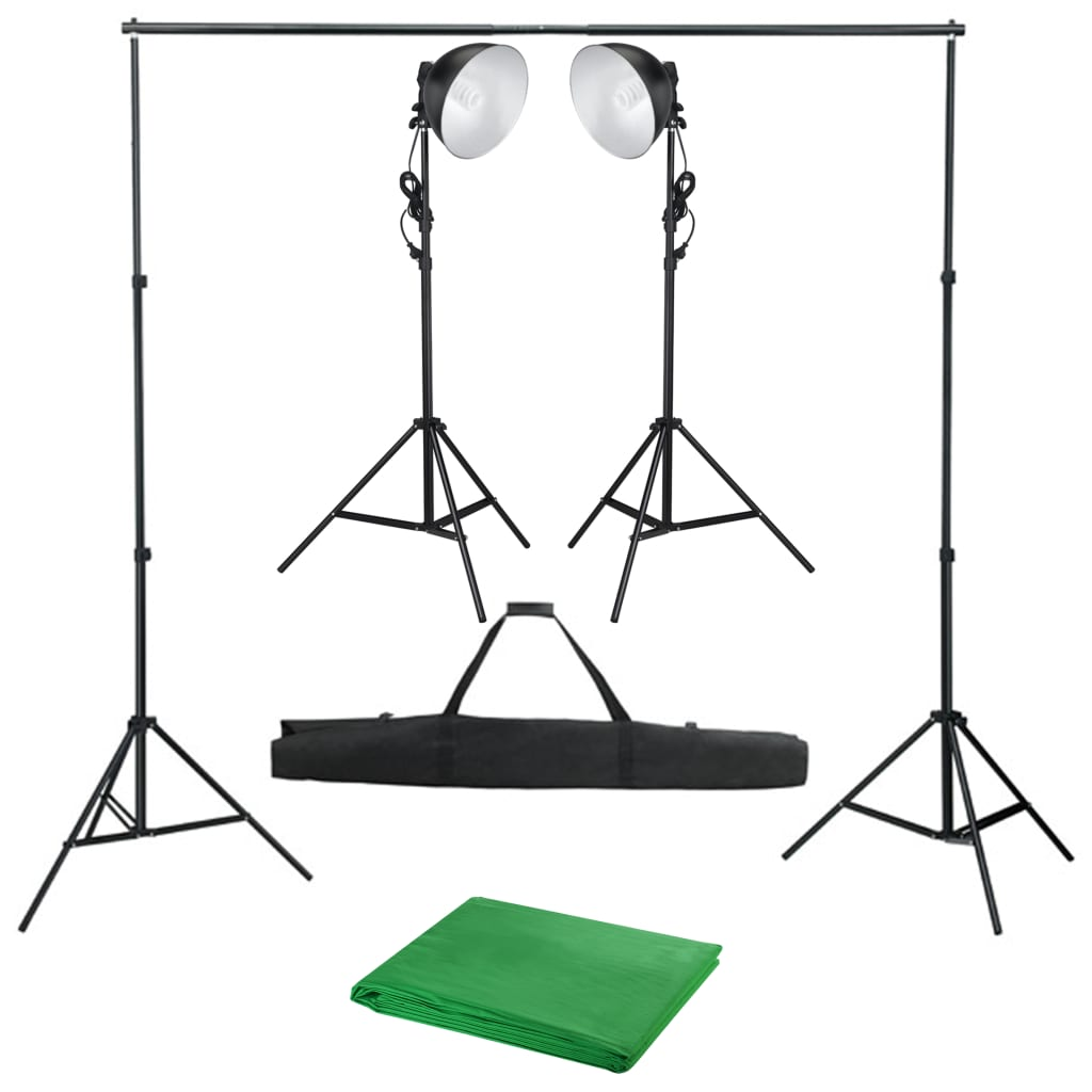 vidaXL Kit studio foto cu lampă de studio și fundal poza vidaxl.ro