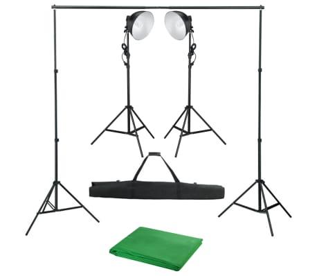vidaXL Kit de studio photo avec lampe de studio et toile de fond