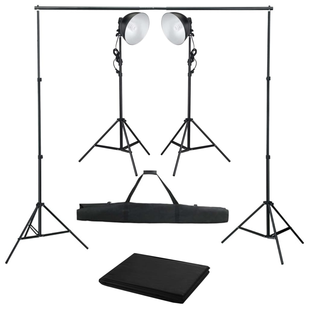 vidaXL Kit studio foto cu lampă de studio și fundal imagine vidaxl.ro