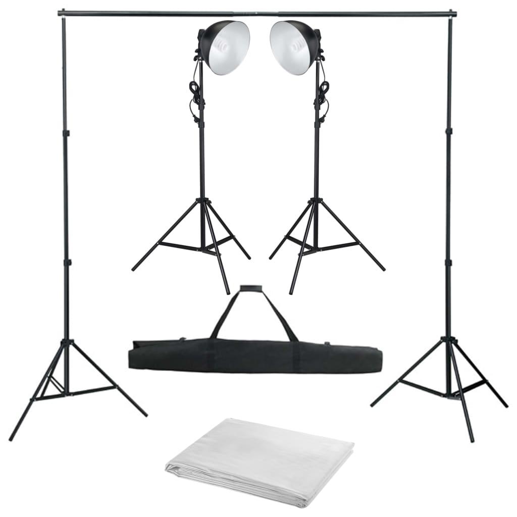 vidaXL Kit studio foto cu lampă de studio și fundal vidaxl.ro