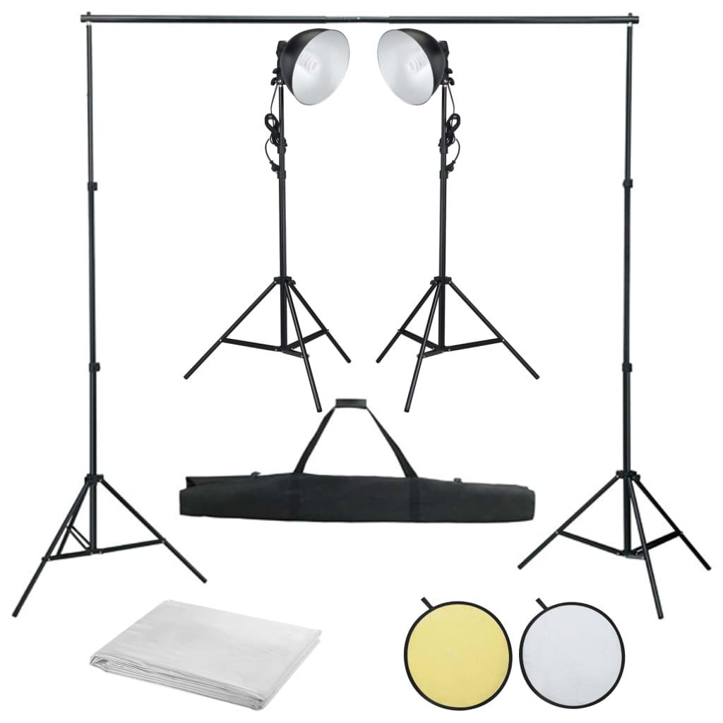 Fotostudio set s osvětlením, fotopozadím a odraznou deskou