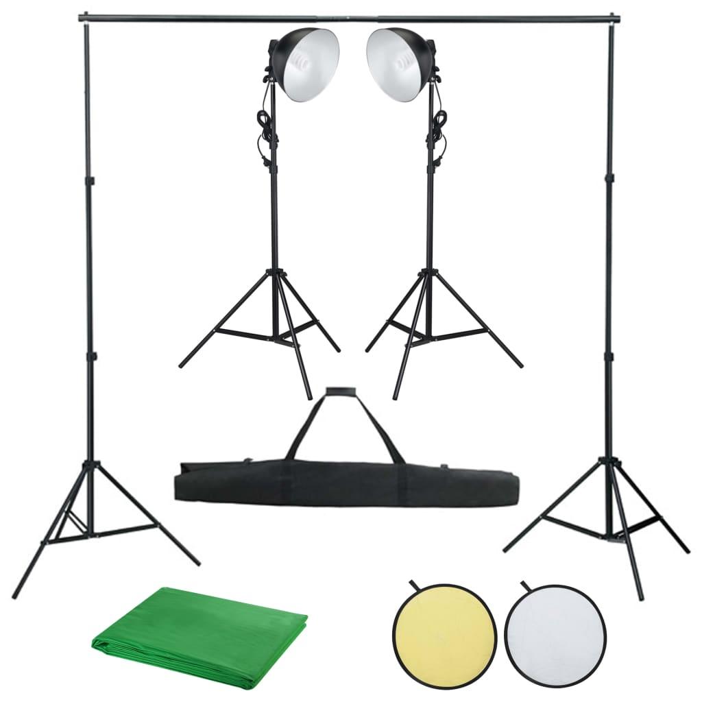 Foto studio set s osvětlením, fotopozadím a odraznou deskou
