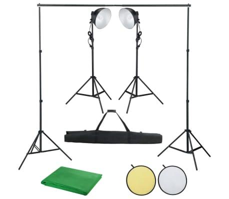 vidaXL Kit de studio photo avec lampe toile de fond et réflecteur