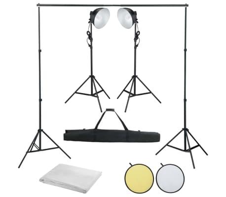 vidaXL Fotostudioset met studiolamp, achtergrond en reflector