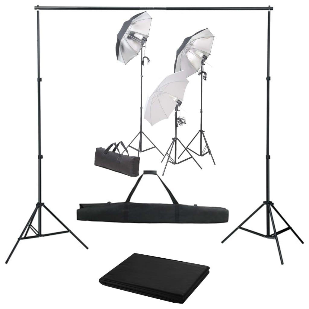 Fotostudio set se sadou světel a fotopozadím