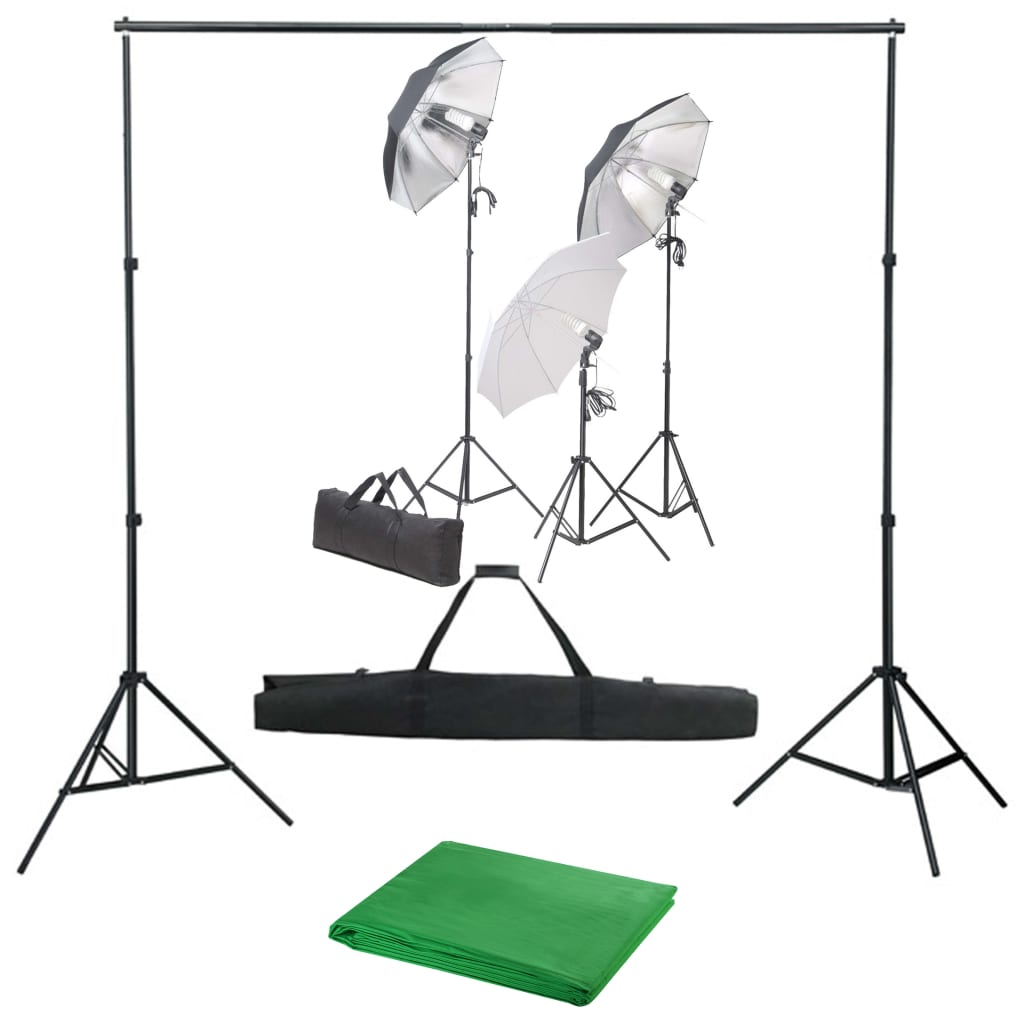 vidaXL Kit studio foto cu set de lumini și fundal imagine vidaxl.ro