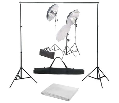 vidaXL Kit de estudio fotográfico con luces y telón de fondo
