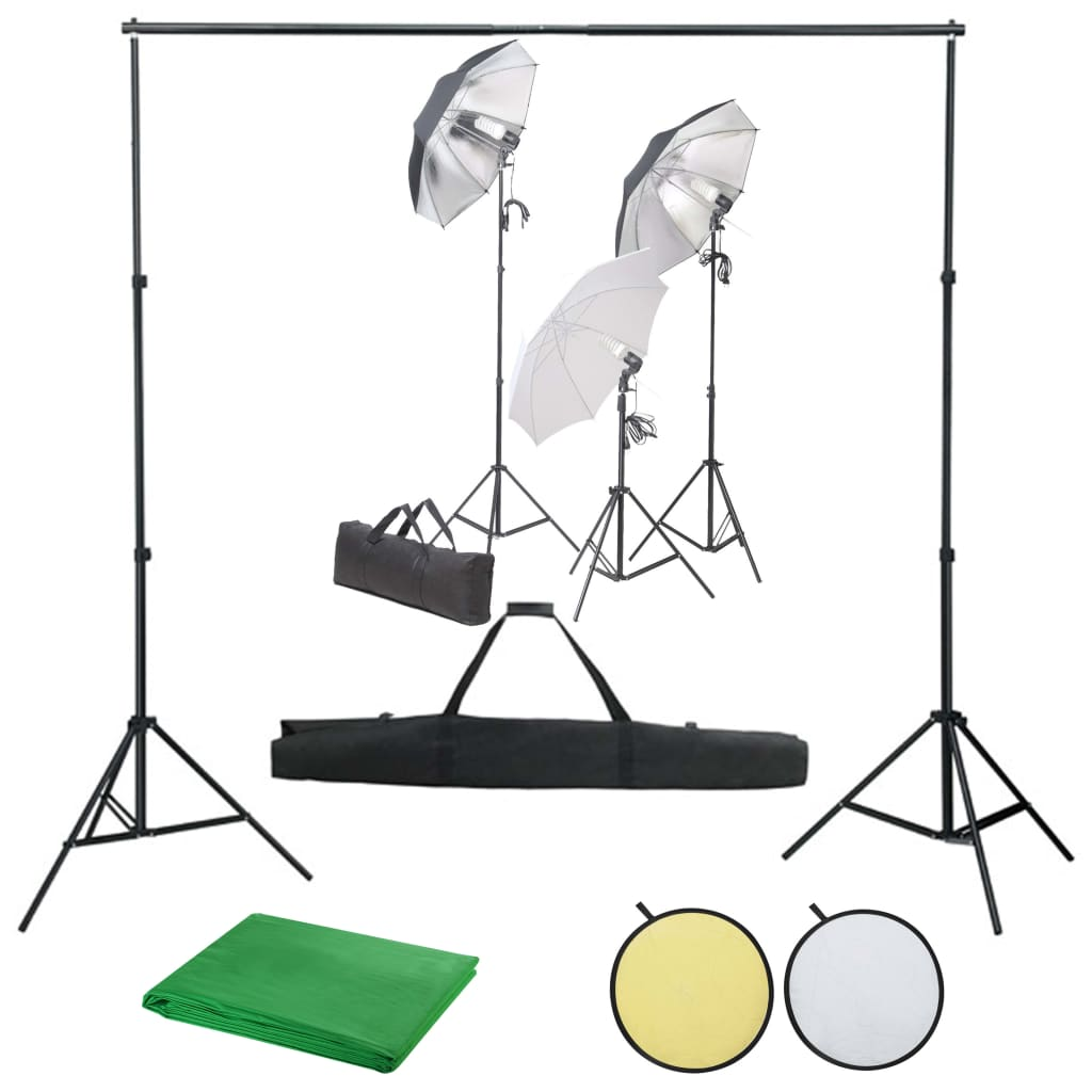 vidaXL Kit studio foto cu set de lumină fundal și reflector imagine vidaxl.ro