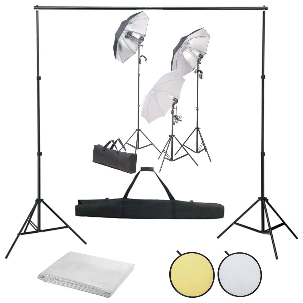 vidaXL Kit studio foto cu set de lămpi, fundal și reflector poza 2021 vidaXL