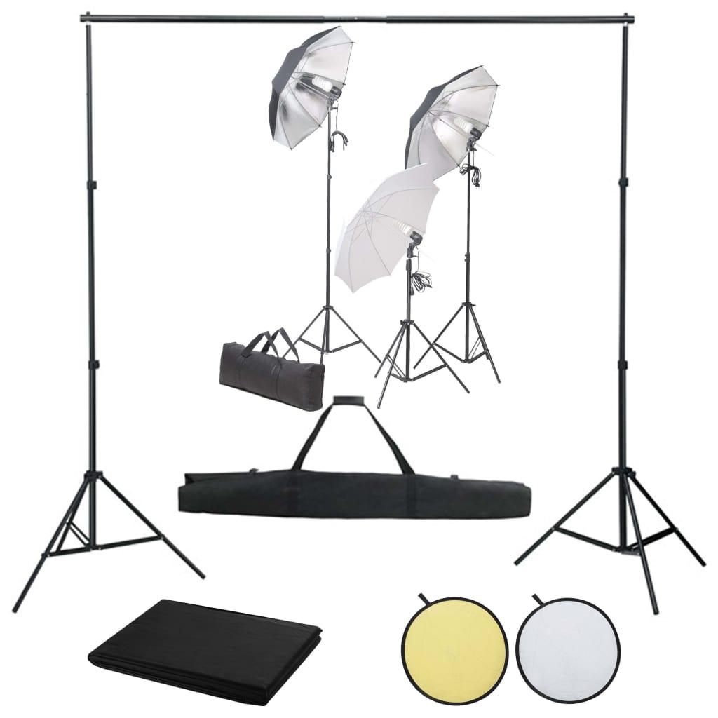 vidaXL Kit studio foto cu set de lămpi, fundal și reflector vidaxl.ro