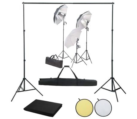 vidaXL Kit de studio photo avec éclairage toile de fond et réflecteur