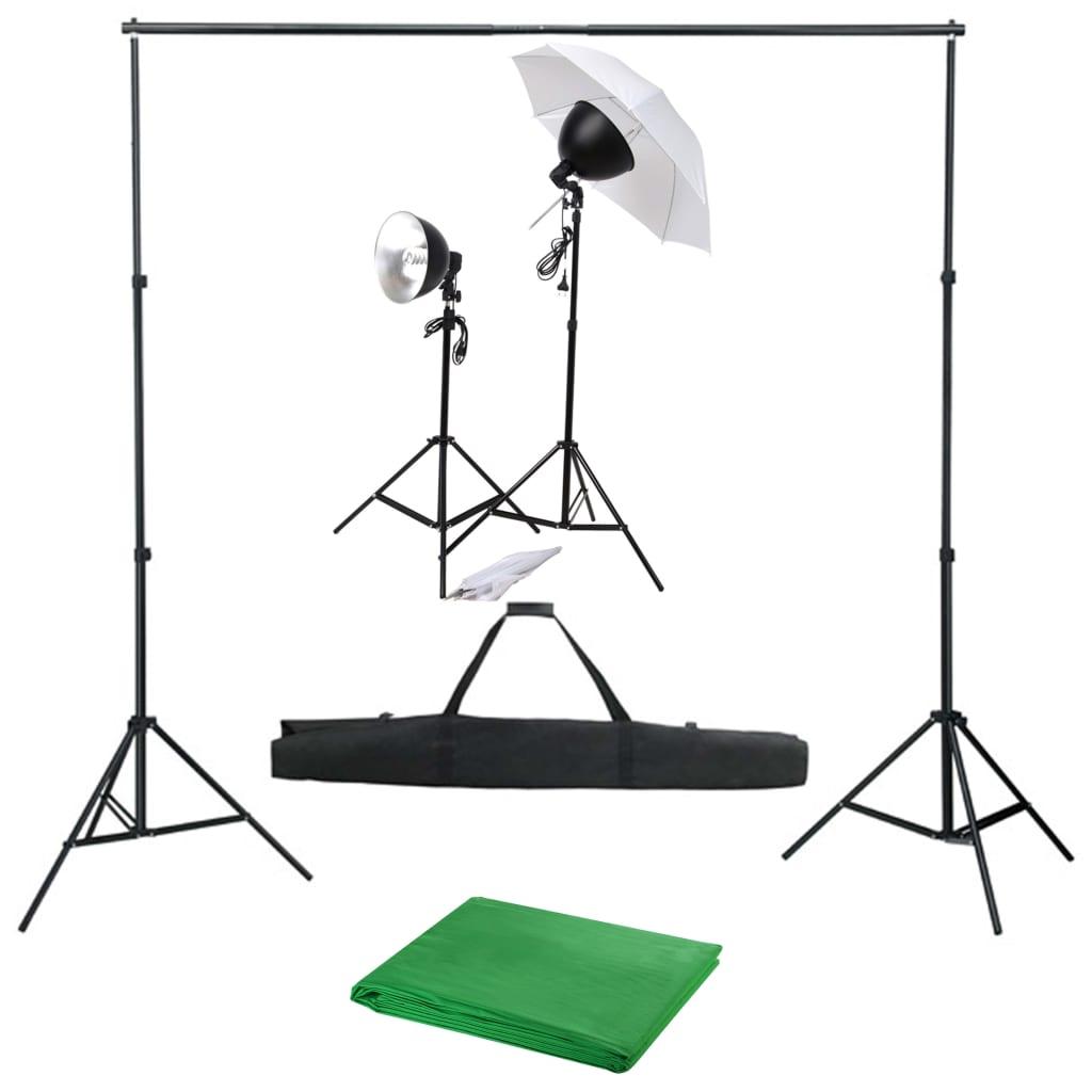 vidaXL Fotostudio set se sadou světel a fotopozadím