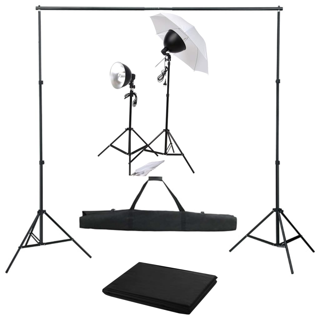 vidaXL Kit studio foto cu set de lumină și fundal imagine vidaxl.ro