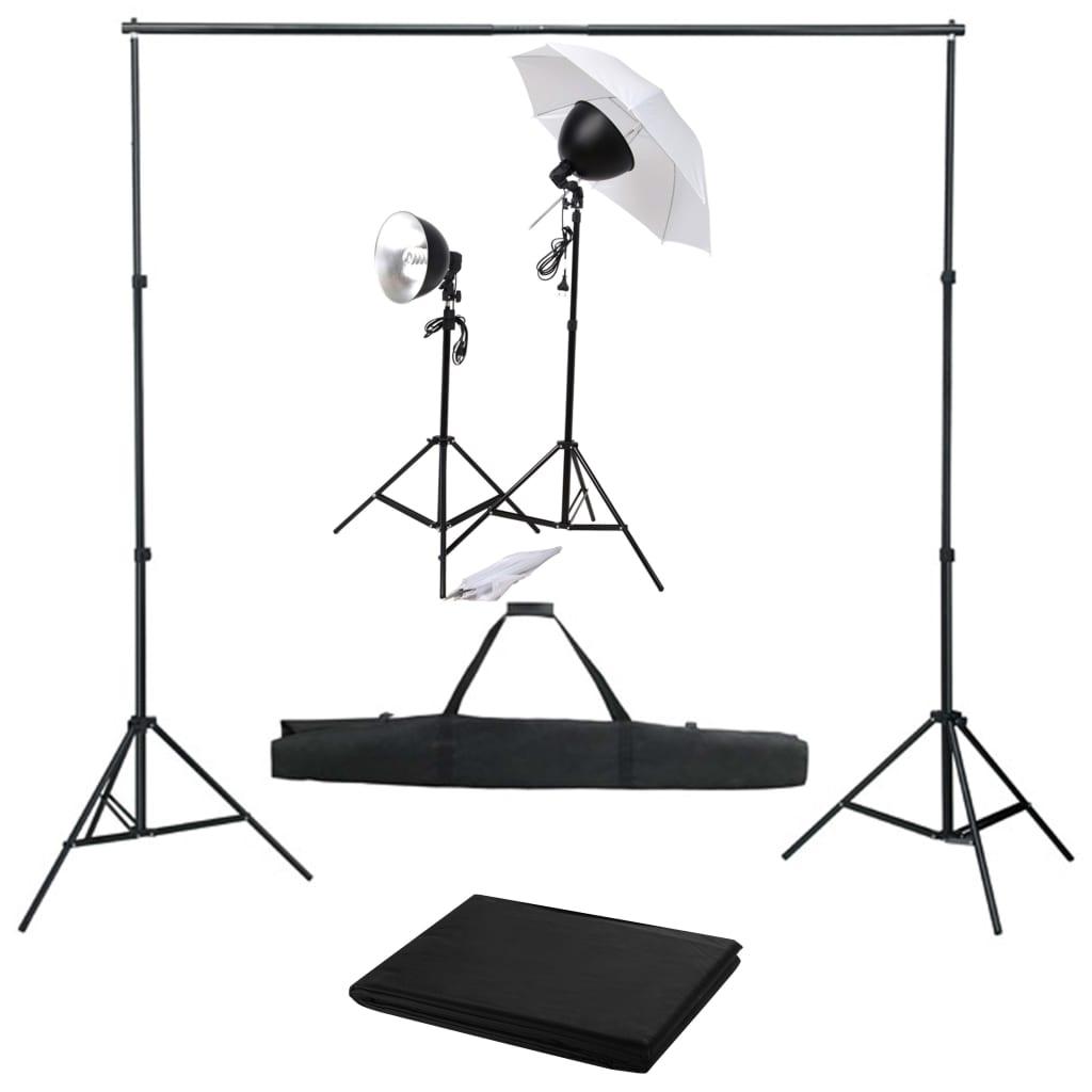 vidaXL Kit studio foto cu set de lumină și fundal vidaxl.ro