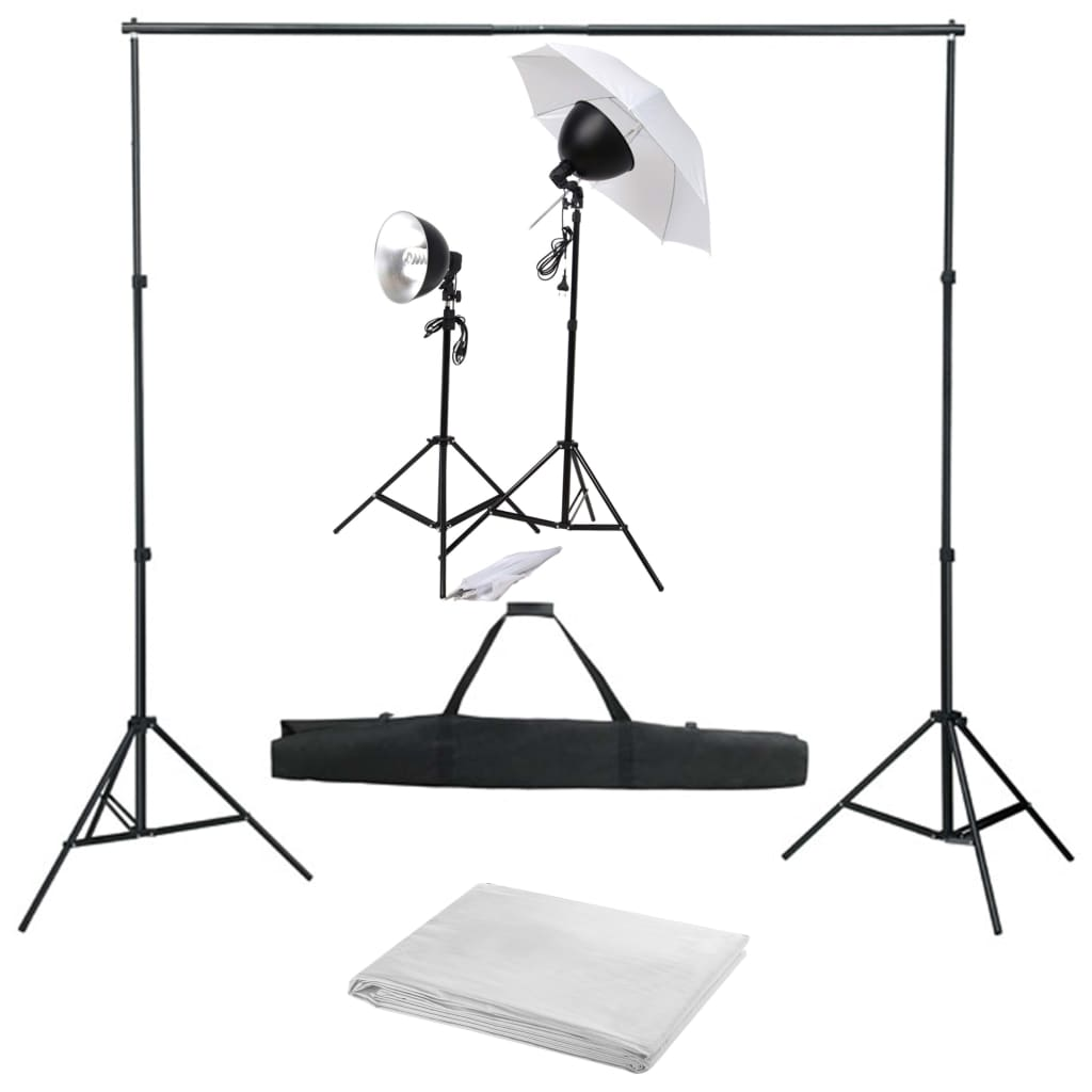 vidaXL Kit studio foto cu set de lumină și fundal poza 2021 vidaXL