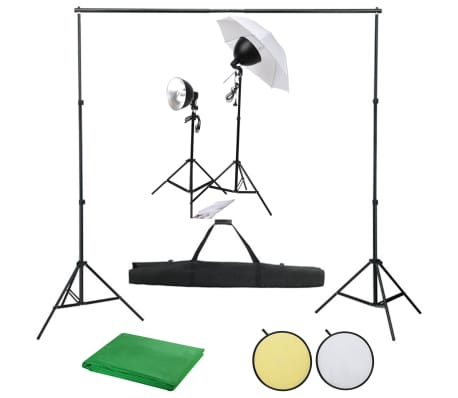 vidaXL Fotostudioset met verlichtingsset, achtergrond en reflector