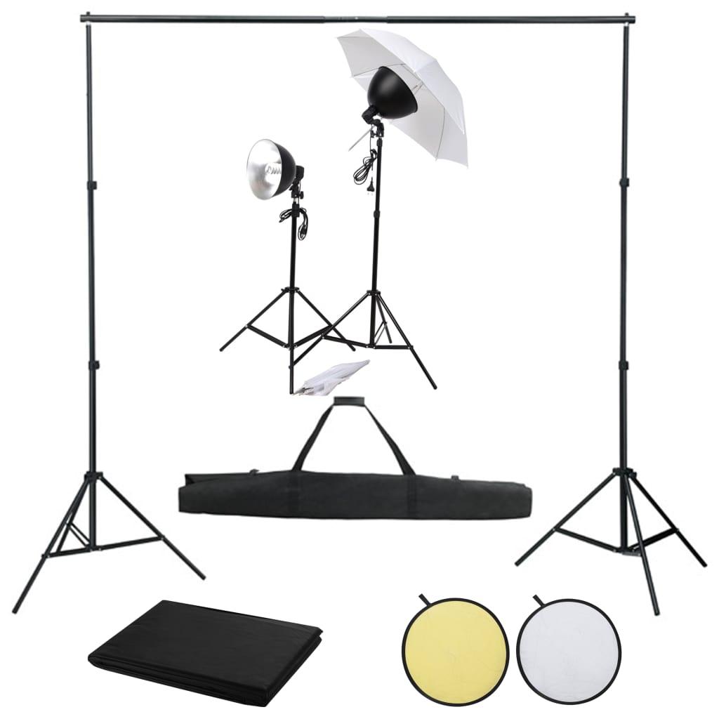 vidaXL Kit studio foto cu set de lumină fundal și reflector vidaxl.ro