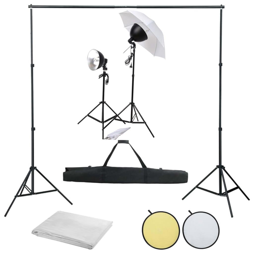 vidaXL Kit studio foto cu set de lumină, fundal și reflector poza 2021 vidaXL
