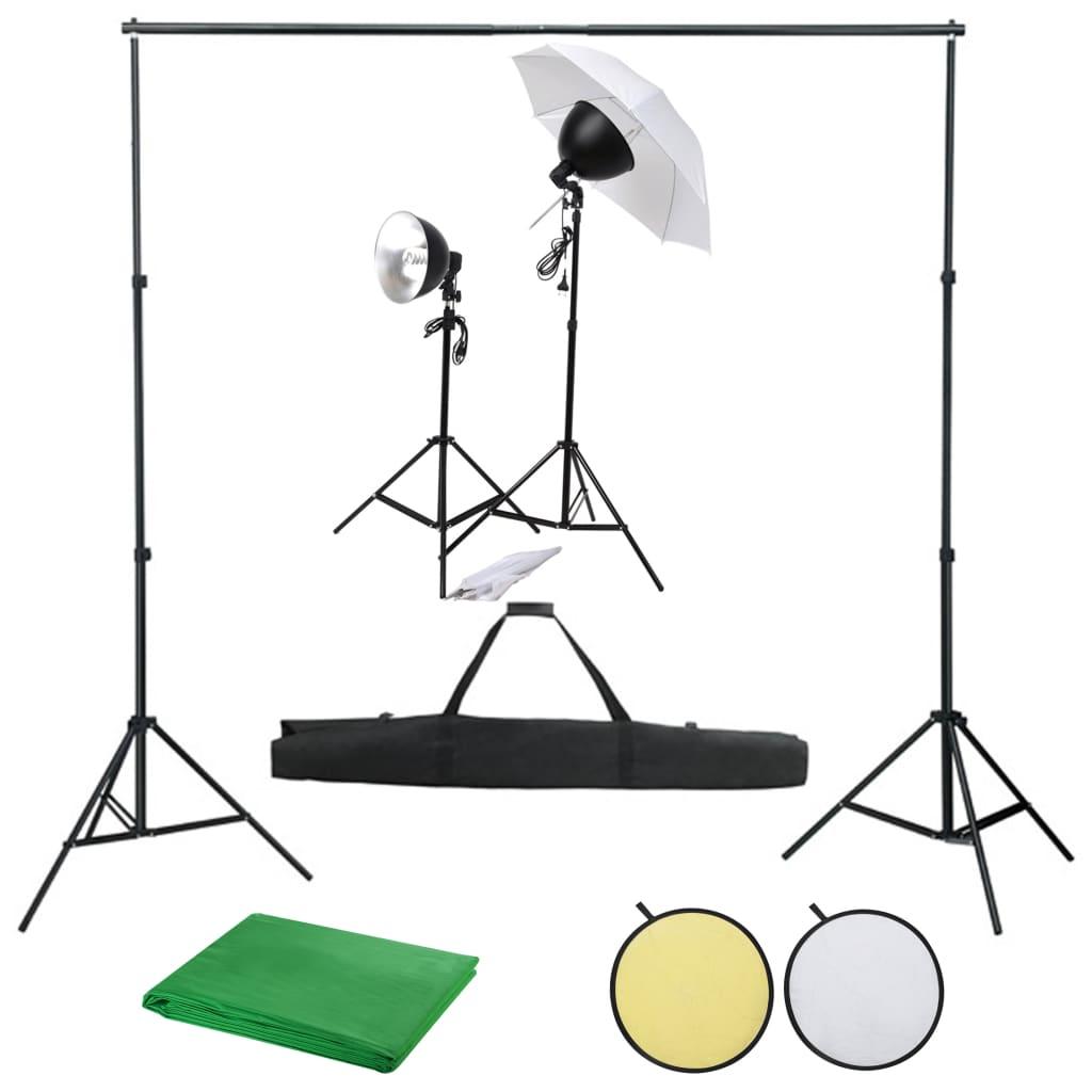vidaXL Kit studio foto cu set de lumină, fundal și reflector vidaxl.ro