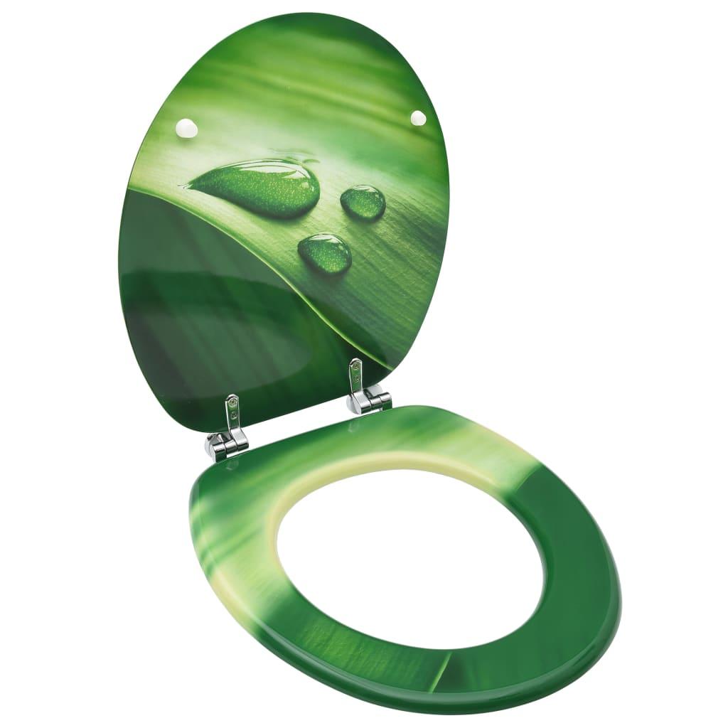 WC sedátko s víkem MDF zelené motiv vodních kapek
