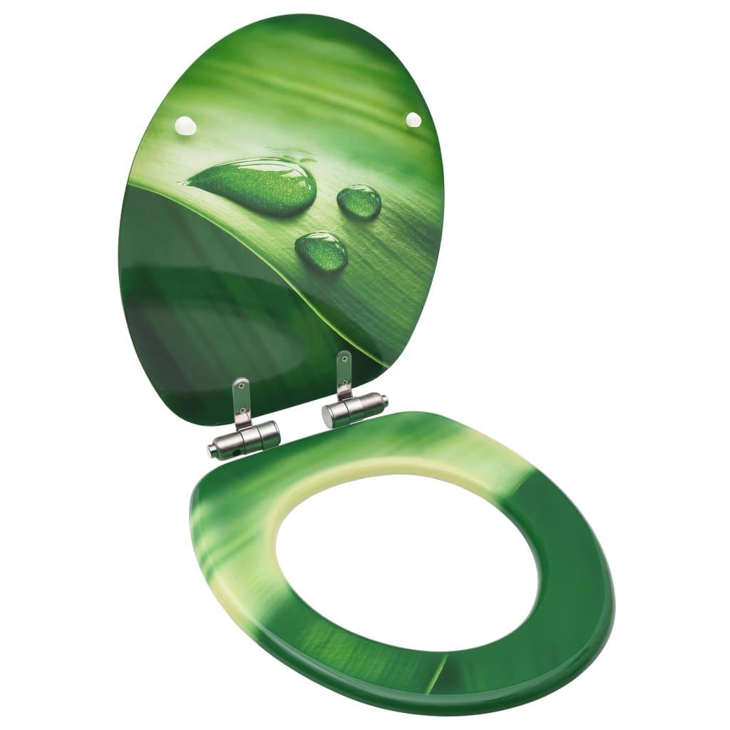 vidaXL Capac WC închidere silențioasă, verde, MDF, model picătură apă vidaxl.ro